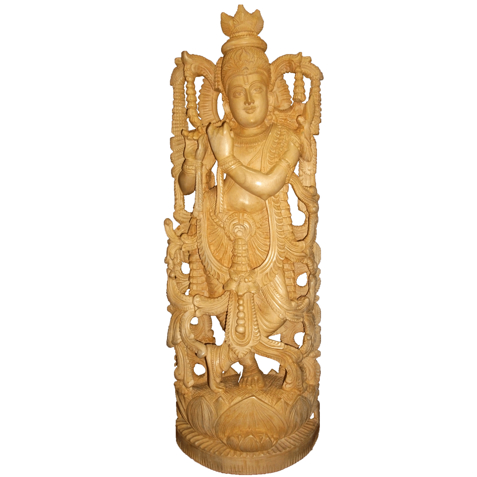 Sri krishna standing position wooden statue